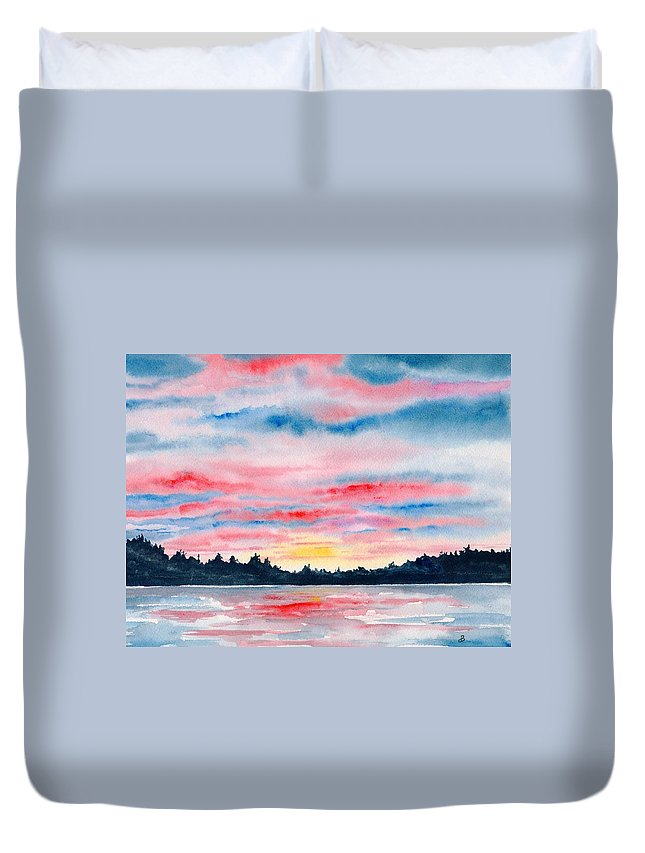 Watercolor Duvet Cover featuring the painting Morning Glory by Brenda Owen