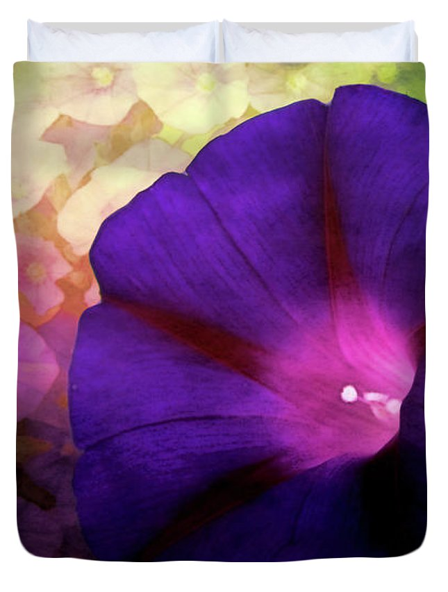 Flowers Duvet Cover featuring the digital art Morning Glory by Gallery Beguiled