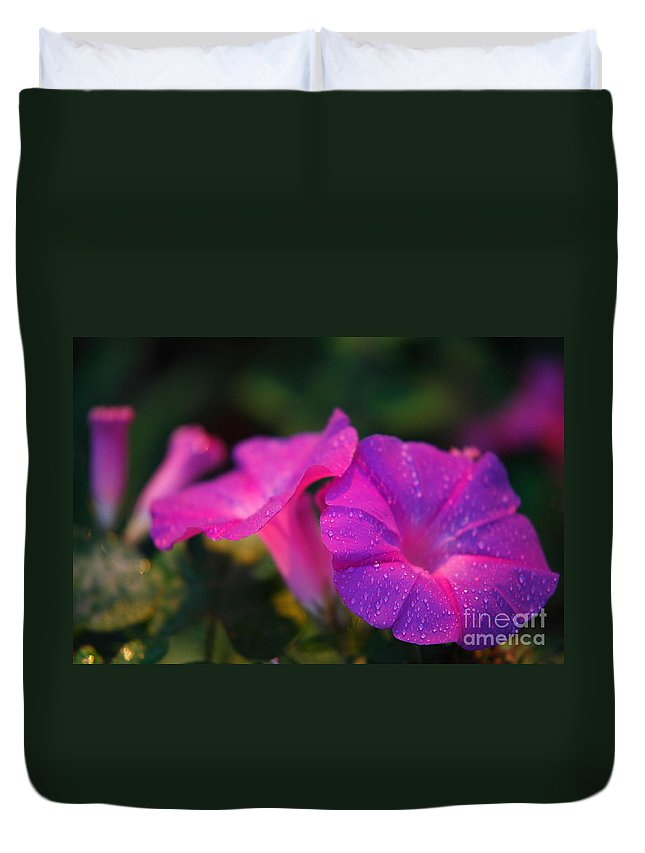 Flora Duvet Cover featuring the photograph Morning Glory by Gaspar Avila