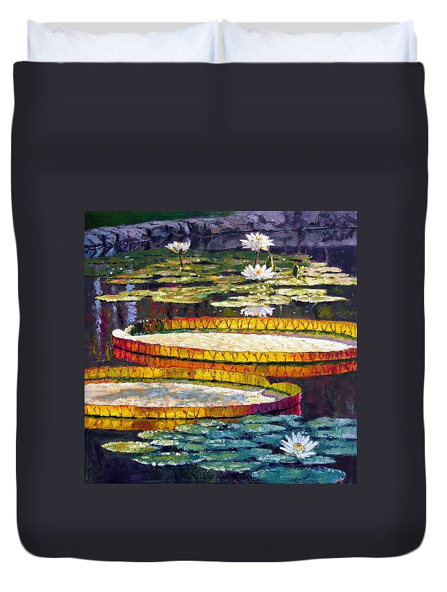 Water Lilies Duvet Cover featuring the painting Morning Glow by John Lautermilch