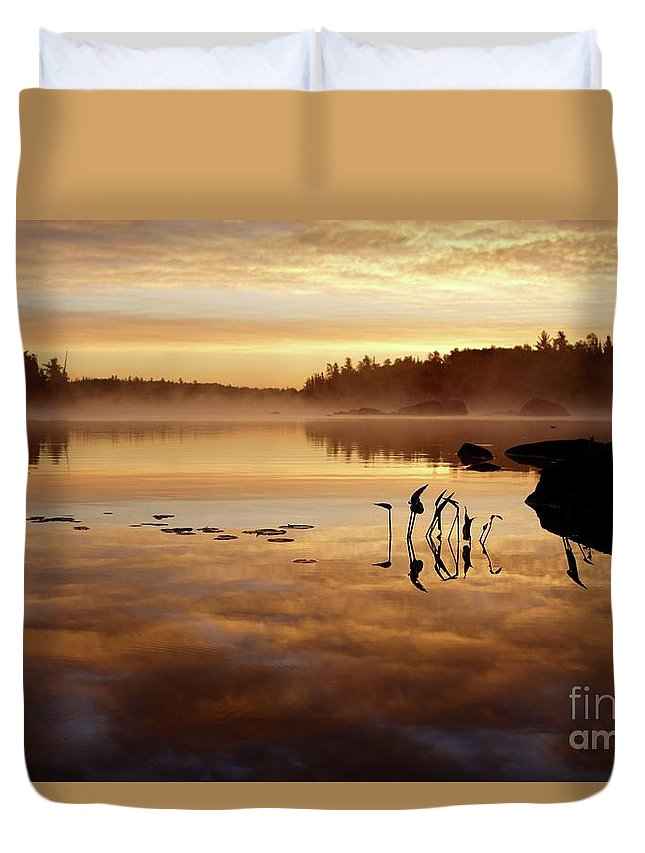 Echo Trail Duvet Cover featuring the photograph Morning Gold by Sandra Updyke
