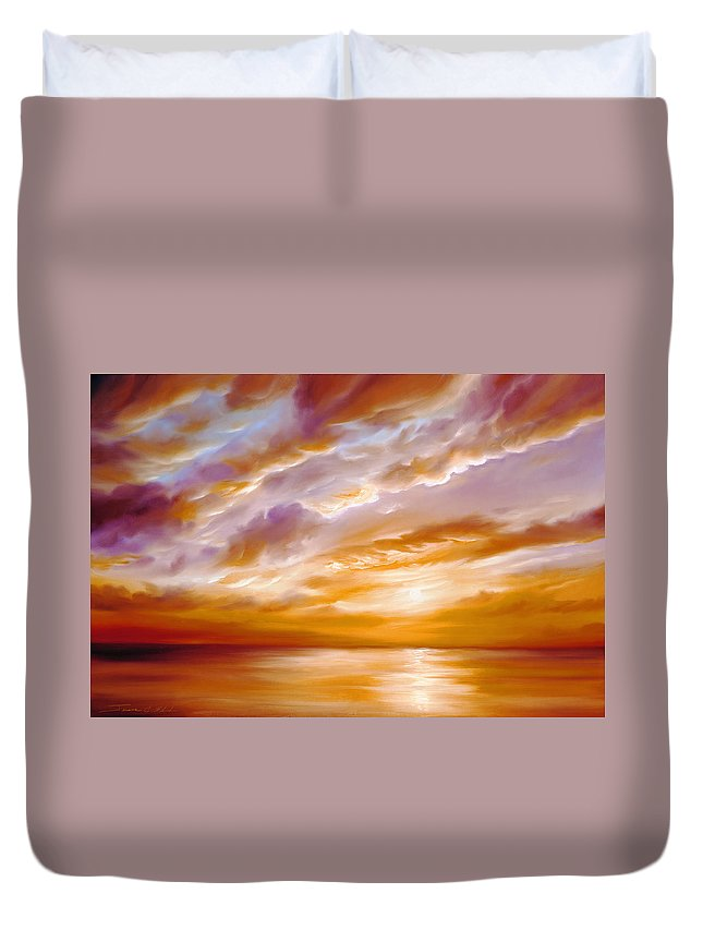 Sunrise; Sunset; Power; Glory; Cloudscape; Skyscape; Purple; Red; Blue; Stunning; Landscape; James C. Hill; James Christopher Hill; Jameshillgallery.com; Ocean; Lakes; Creation; Genesis Duvet Cover featuring the painting Morning Grace by James Christopher Hill