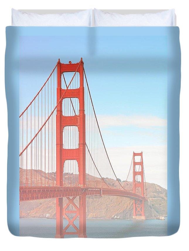 Golden Gate Bridge Duvet Cover featuring the photograph Morning Has Broken - Golden Gate Bridge San Francisco by Christine Till
