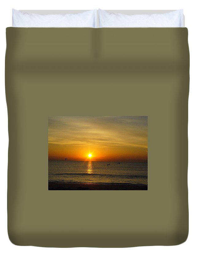 Ocean Duvet Cover featuring the photograph Morning Has Broken by Peggy King
