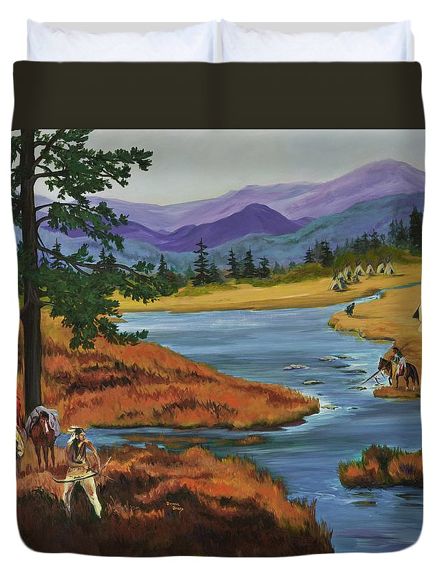 Southwestern Art Duvet Cover featuring the painting Morning Hunt by Donna Drake