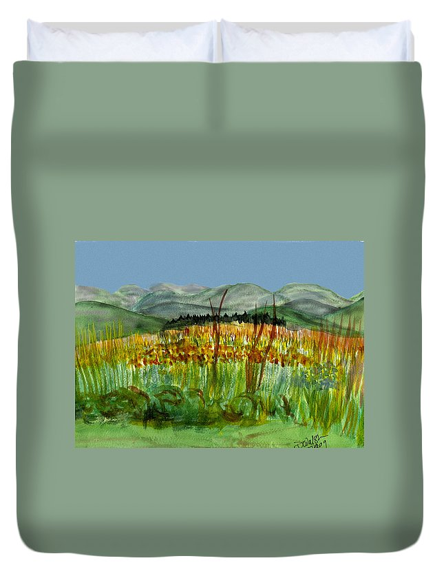 Batrton Vt Duvet Cover featuring the painting Morning In Backyard At Barton by Donna Walsh