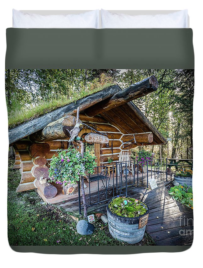 The Hobbit Hut Duvet Cover featuring the photograph Morning In The Woods by Eva Lechner