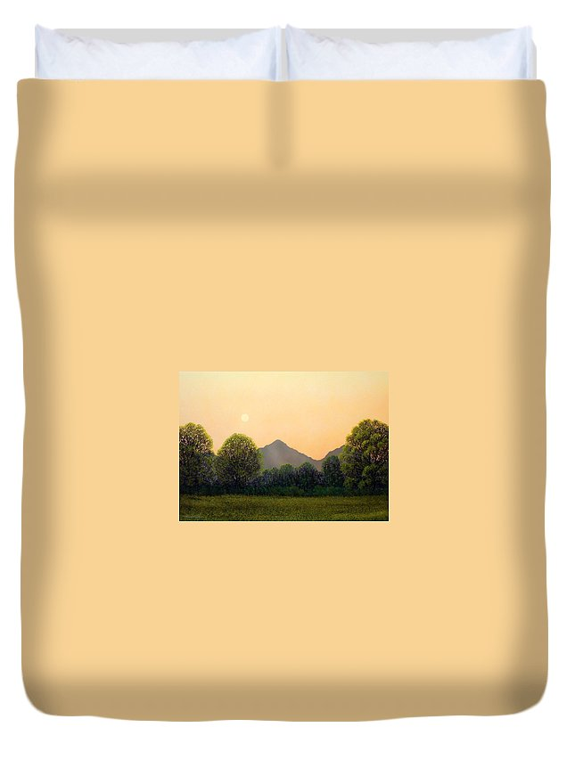 Landscape Duvet Cover featuring the painting Morning Light by Frank Wilson