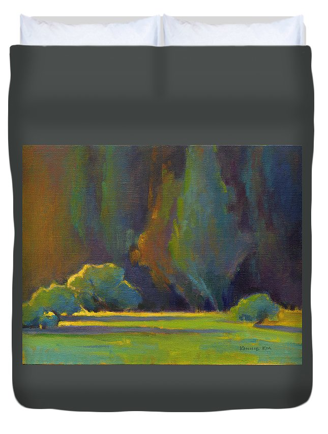 Trees Duvet Cover featuring the painting Morning Light by Konnie Kim
