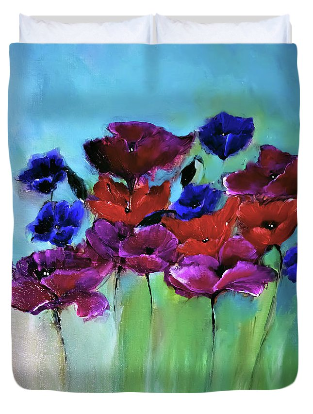 Morning Duvet Cover featuring the digital art Morning Light Poppies Painting by Lisa Kaiser