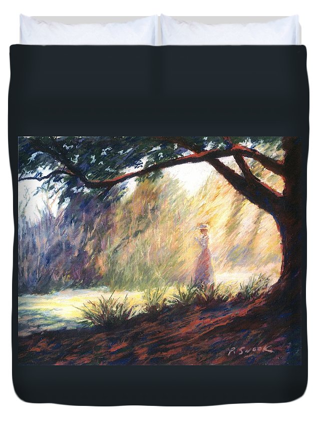 Woman Meditating Tree Park Outdoor Duvet Cover featuring the pastel Morning Meditation by Pat Snook