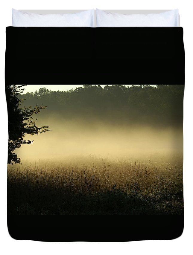 Landscape Duvet Cover featuring the photograph Morning Mist by Heidi Poulin