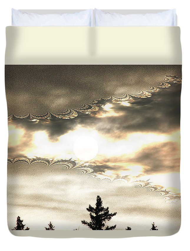 Moon Sky Trees Abstract Forest Wild Portal Clouds Gold Fractal Duvet Cover featuring the digital art Morning Moon by Andrea Lawrence
