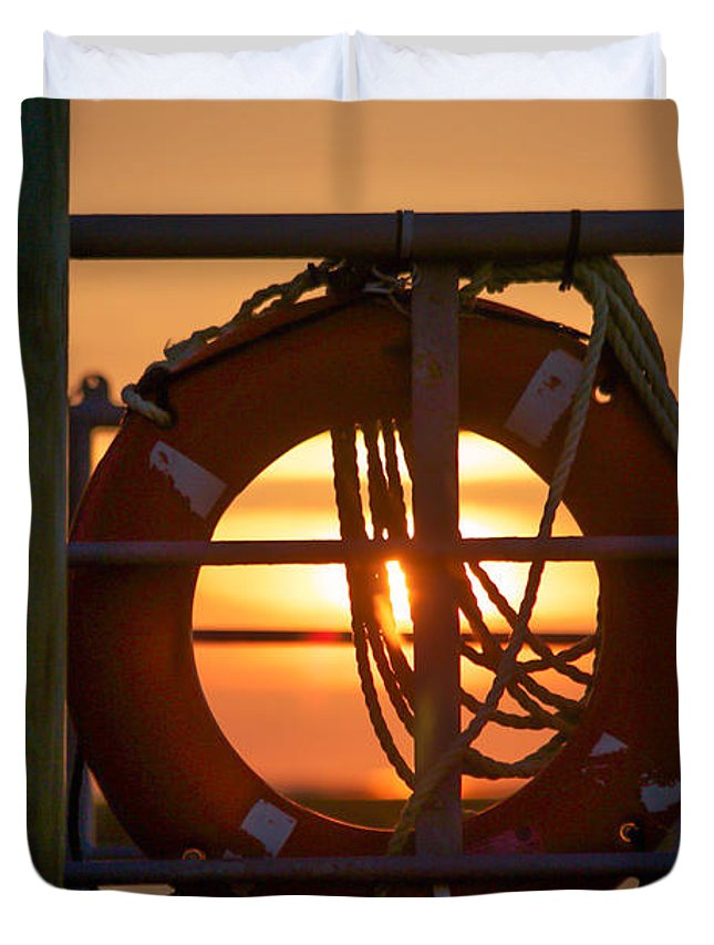 Cedar Island Duvet Cover featuring the photograph Morning On Deck by Paula OMalley