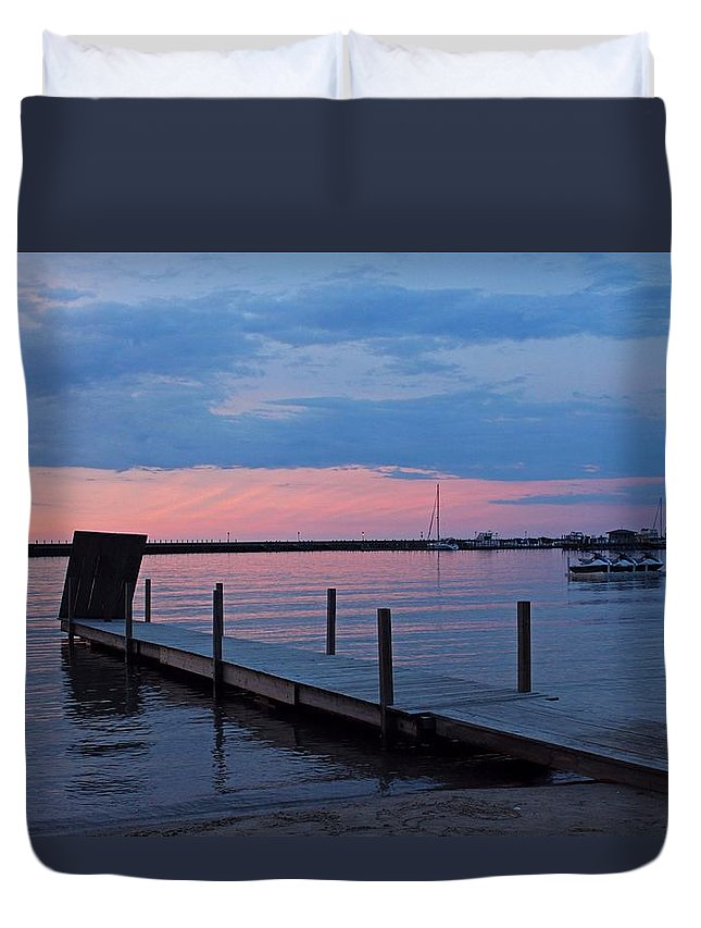Pier Duvet Cover featuring the photograph Morning On Lake Huron by Michiale Schneider