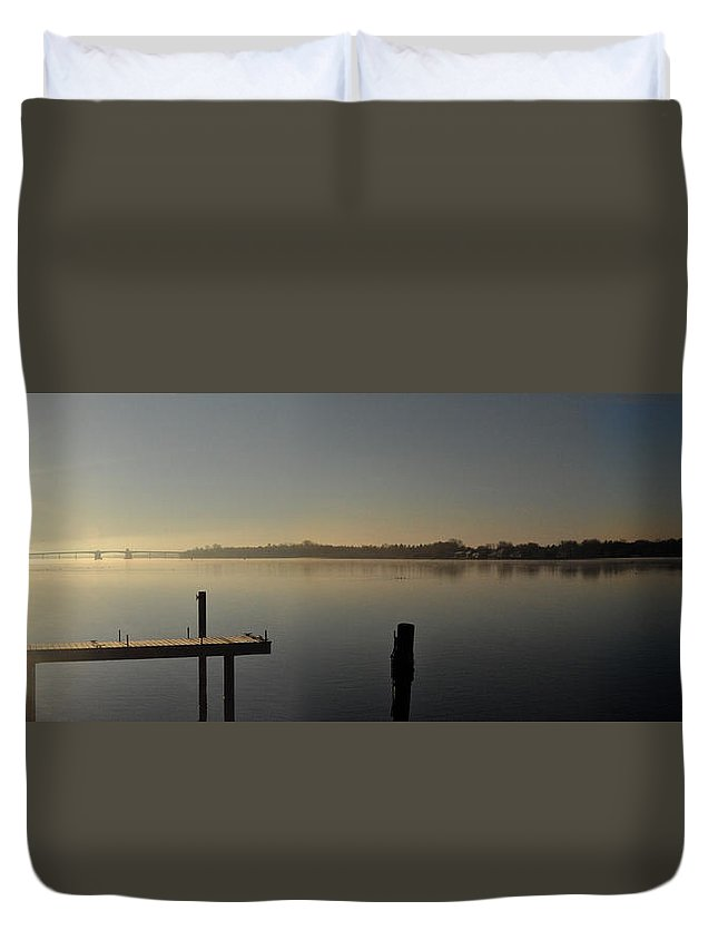 Water Duvet Cover featuring the photograph Morning On The Bay by Tim Nyberg