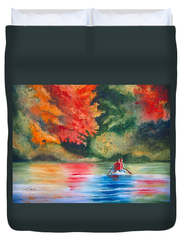 Lake Duvet Cover featuring the painting Morning On The Lake by Karen Stark