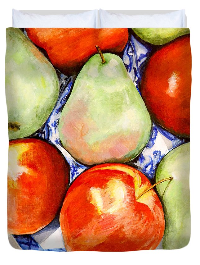 Apples Duvet Cover featuring the painting Morning Pears and Apples by Mary Chant
