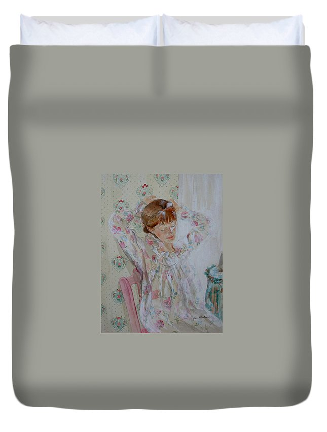 Morning Duvet Cover featuring the painting Morning Ritual by Jean Blackmer