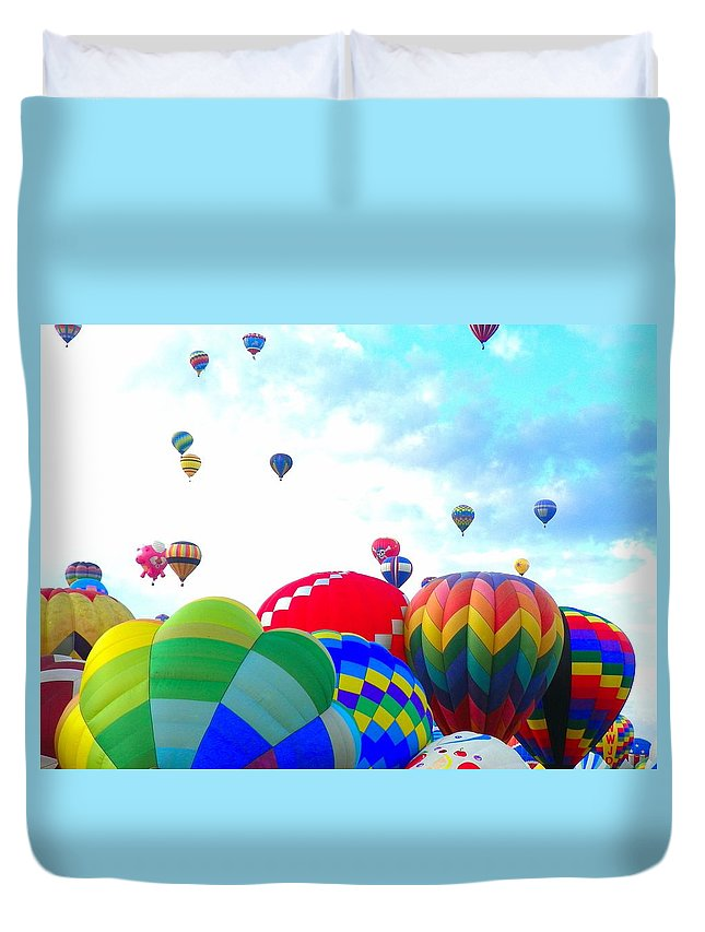 Balloon Duvet Cover featuring the photograph Morning Skies by Loring Laven
