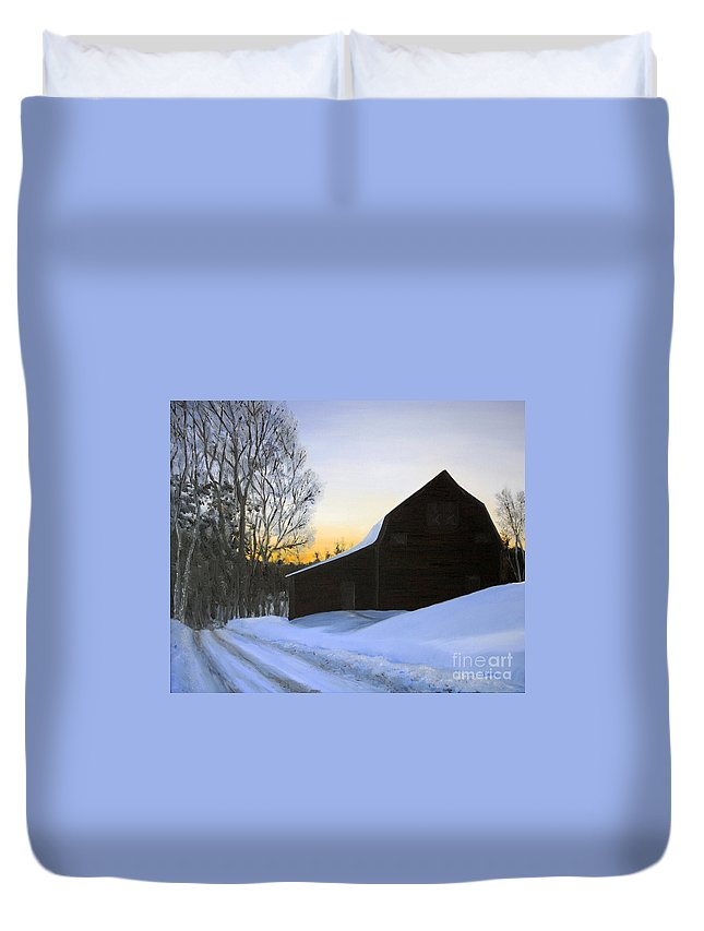 Sunrise Duvet Cover featuring the painting Morning Solitude by Mary Tuomi