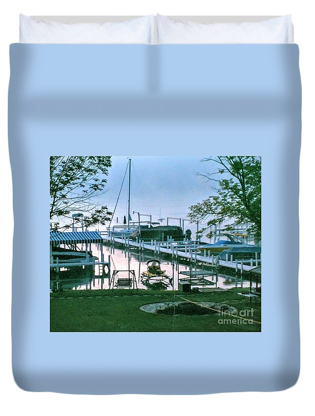 Pier. Boats Duvet Cover featuring the photograph Morning Stillness In Williams Bay, Wi by Jane Butera Borgardt