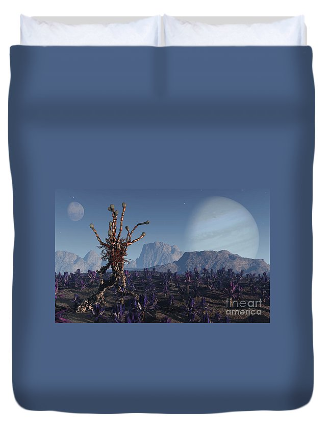 Alien Duvet Cover featuring the digital art Morning Stroll by Richard Rizzo