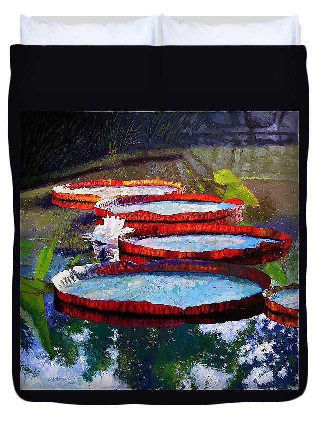 Water Lily Pond Duvet Cover featuring the painting Morning Sunlight by John Lautermilch