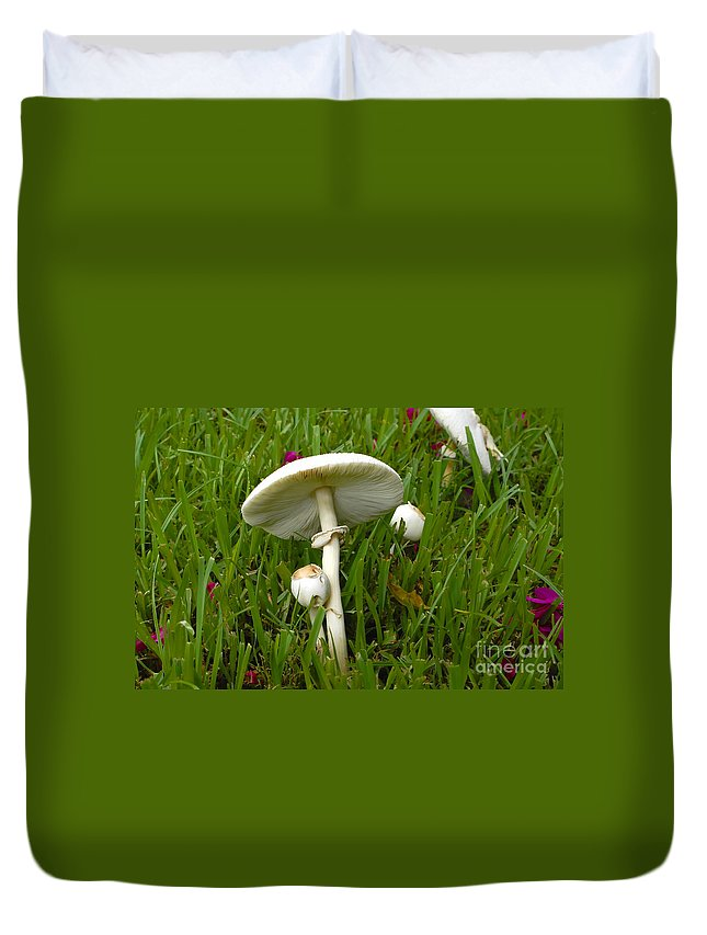 Mushrooms Duvet Cover featuring the photograph Morning Surprise by David Lee Thompson