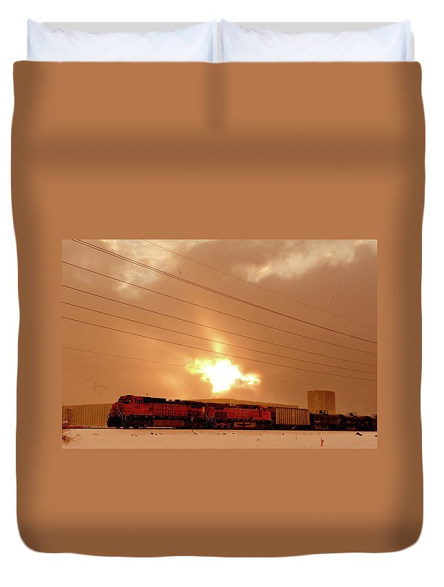 Seshat Duvet Cover featuring the photograph Morning Train 2 by Scott Sawyer