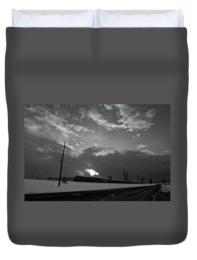 Seshat Duvet Cover featuring the photograph Morning Train In Black And White by Scott Sawyer