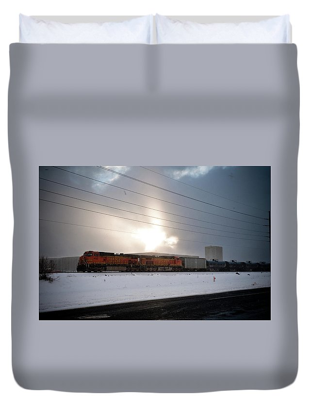 Seshat Duvet Cover featuring the photograph Morning Train by Scott Sawyer