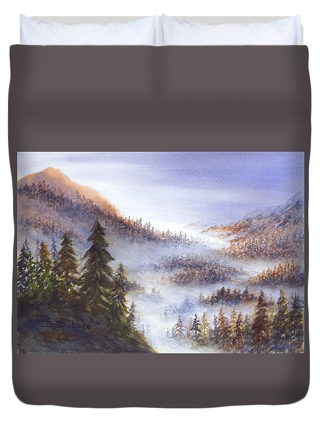 Nature Duvet Cover featuring the painting Morning Vista by Darrell Dubose