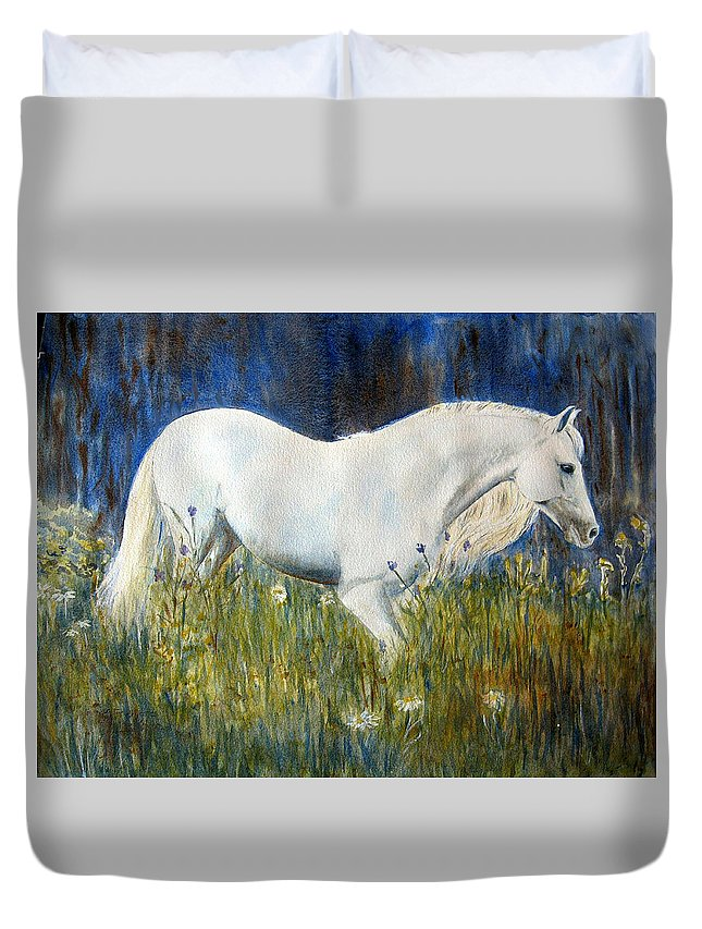 Horse Painting Duvet Cover featuring the painting Morning Walk by Frances Gillotti