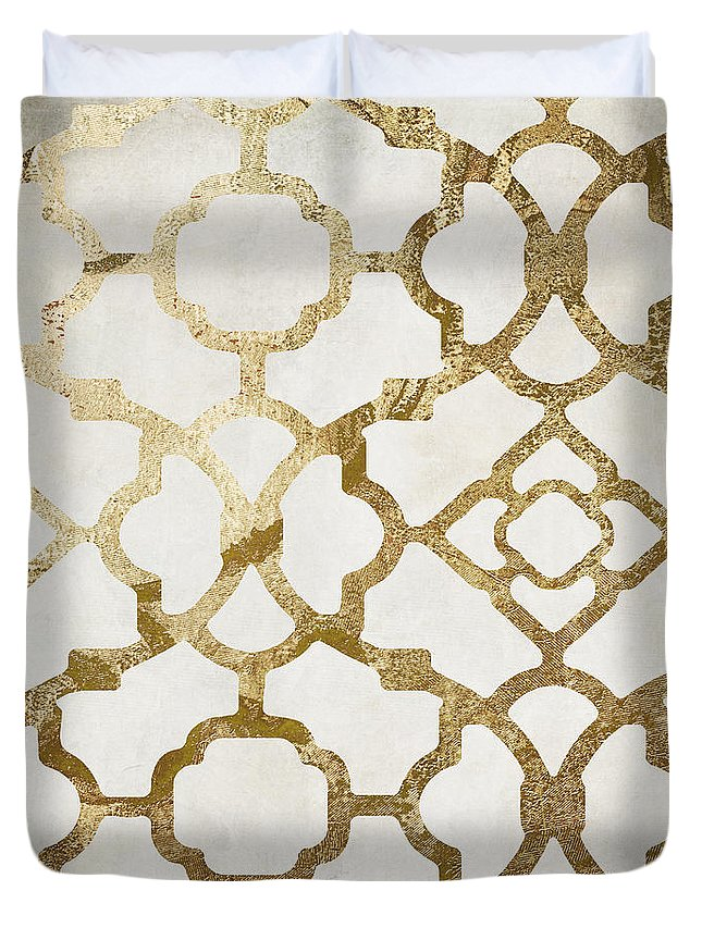 Gold Duvet Cover featuring the painting Moroccan Gold I by Mindy Sommers
