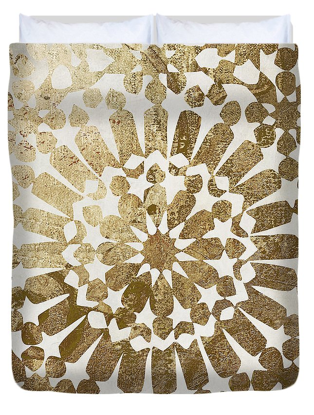 Gold Duvet Cover featuring the painting Moroccan Gold II by Mindy Sommers