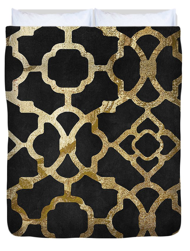 Black And Gold Pattern Duvet Cover featuring the painting Moroccan Gold IIi by Mindy Sommers