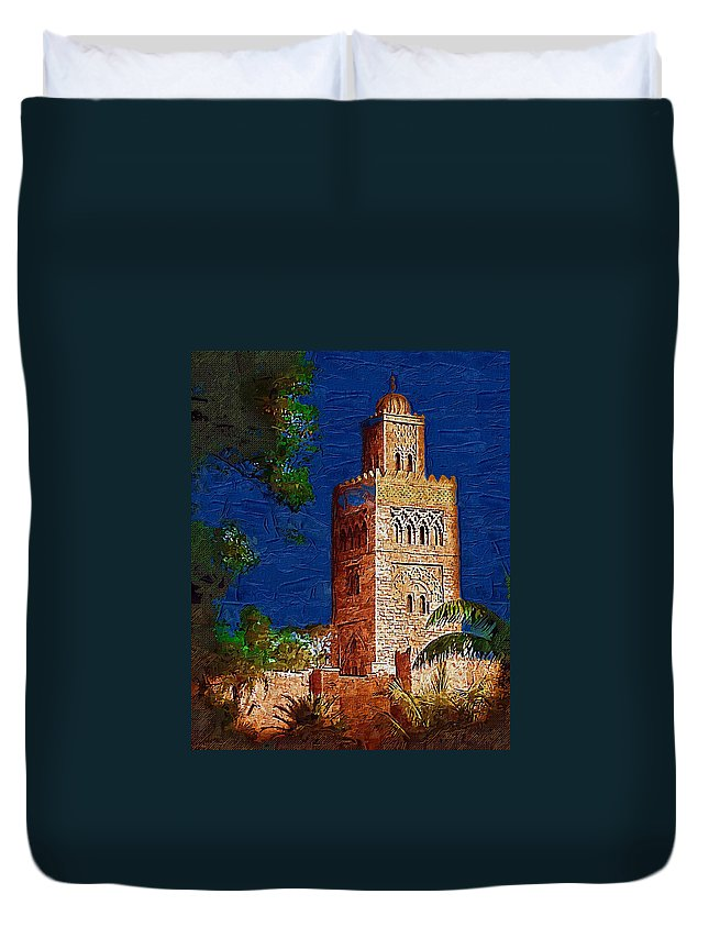 Morocco Duvet Cover featuring the digital art Morocco Pavilion In Epcot by Nora Martinez