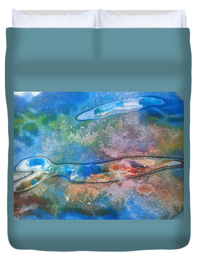 Science Duvet Cover featuring the mixed media Morphic Resonance by Jacqueline Marks