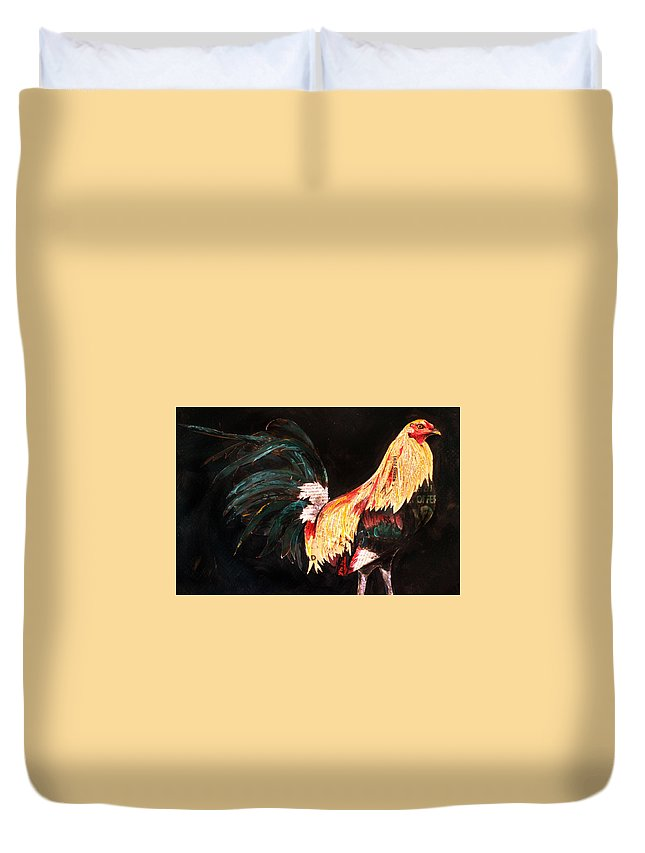 Gamefowl Duvet Cover featuring the mixed media Morris Gamefowl by Julie Graves