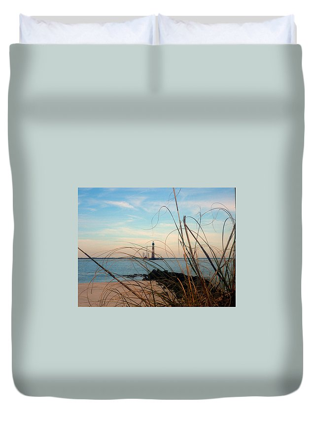 Photography Duvet Cover featuring the photograph Morris Island Lighthouse In Charleston Sc by Susanne Van Hulst