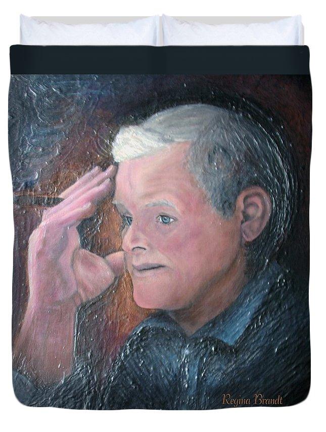 Portrait Duvet Cover featuring the painting Morris by Regina Brandt
