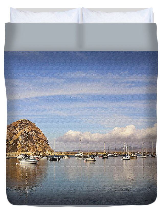 Morro Bay Duvet Cover featuring the digital art Morro Harbor And Rain Clouds by Sharon Foster