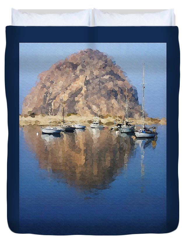 Boat Duvet Cover featuring the photograph Morro Harbor by Sharon Foster