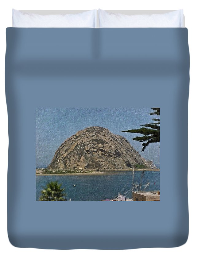 California Duvet Cover featuring the painting Morro Rock California Painting by Teresa Mucha