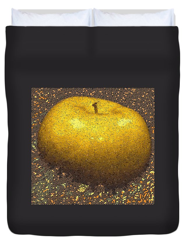 Apple Duvet Cover featuring the digital art Mosaic Apple by Ian MacDonald