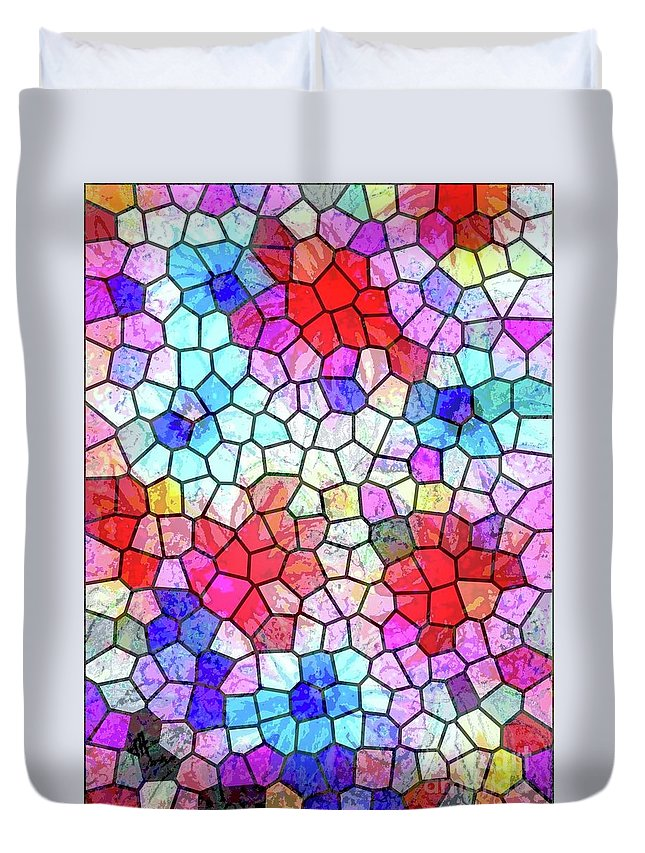 Abstract Flowers Duvet Cover featuring the painting Mosaic Garden Blooms by Hazel Holland