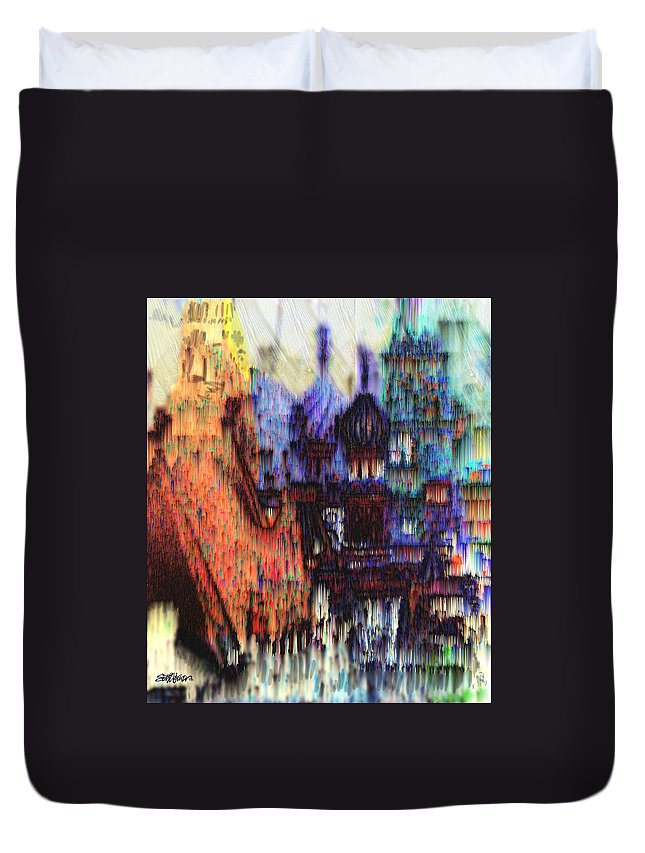 Fog Duvet Cover featuring the digital art Moscow in the Rain by Seth Weaver