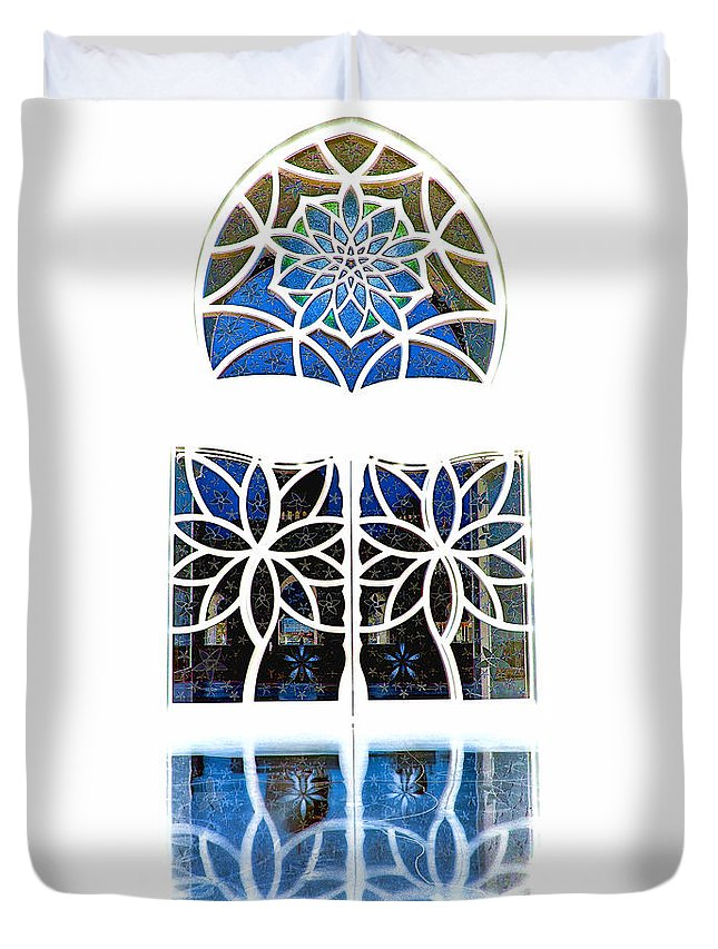 Artistic Window Duvet Cover featuring the photograph Mosque Foyer Window 1 White by Mark Sellers