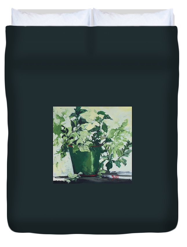 Green Plants Duvet Cover featuring the painting Mosquito Be Gone by Mary Scott